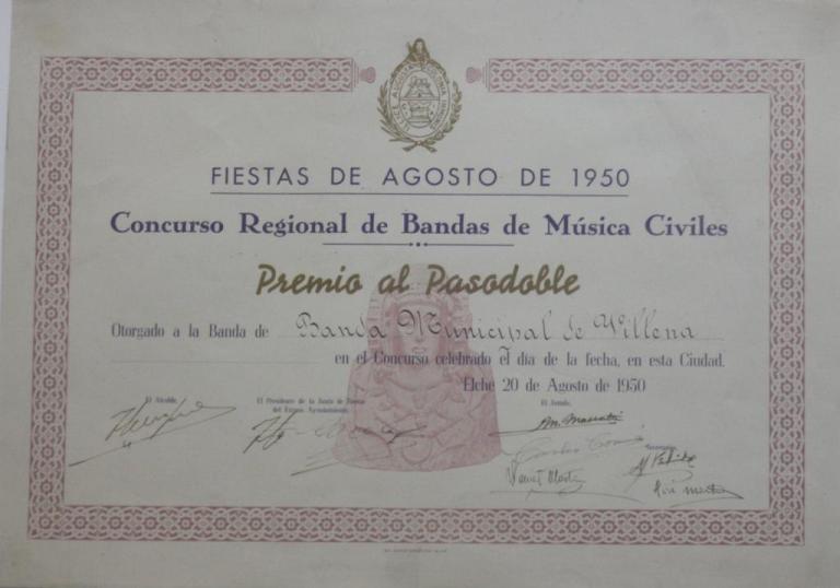 Diploma premio al pasodoble 1950