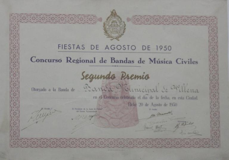 Diploma 2º premio 1950